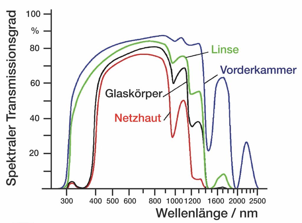 Infrarotlicht im Auge - Graph der Wellenlängen