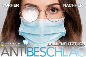 Antibeschlag-Brillenputztuch schützt bis zu 12 Stunden